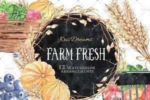 Farm Fresh Watercolor Arrangements