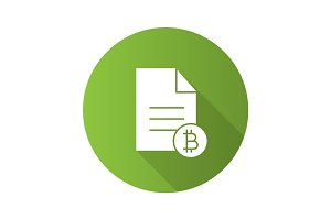 Bitcoin documentaries flat design long shadow glyph icon