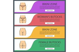 Female body parts web banner templates set
