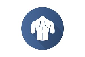 Man's back flat design long shadow glyph icon