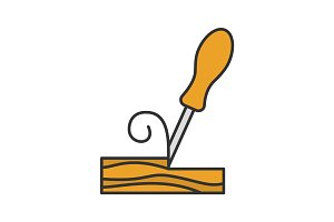 Wood chisel color icon
