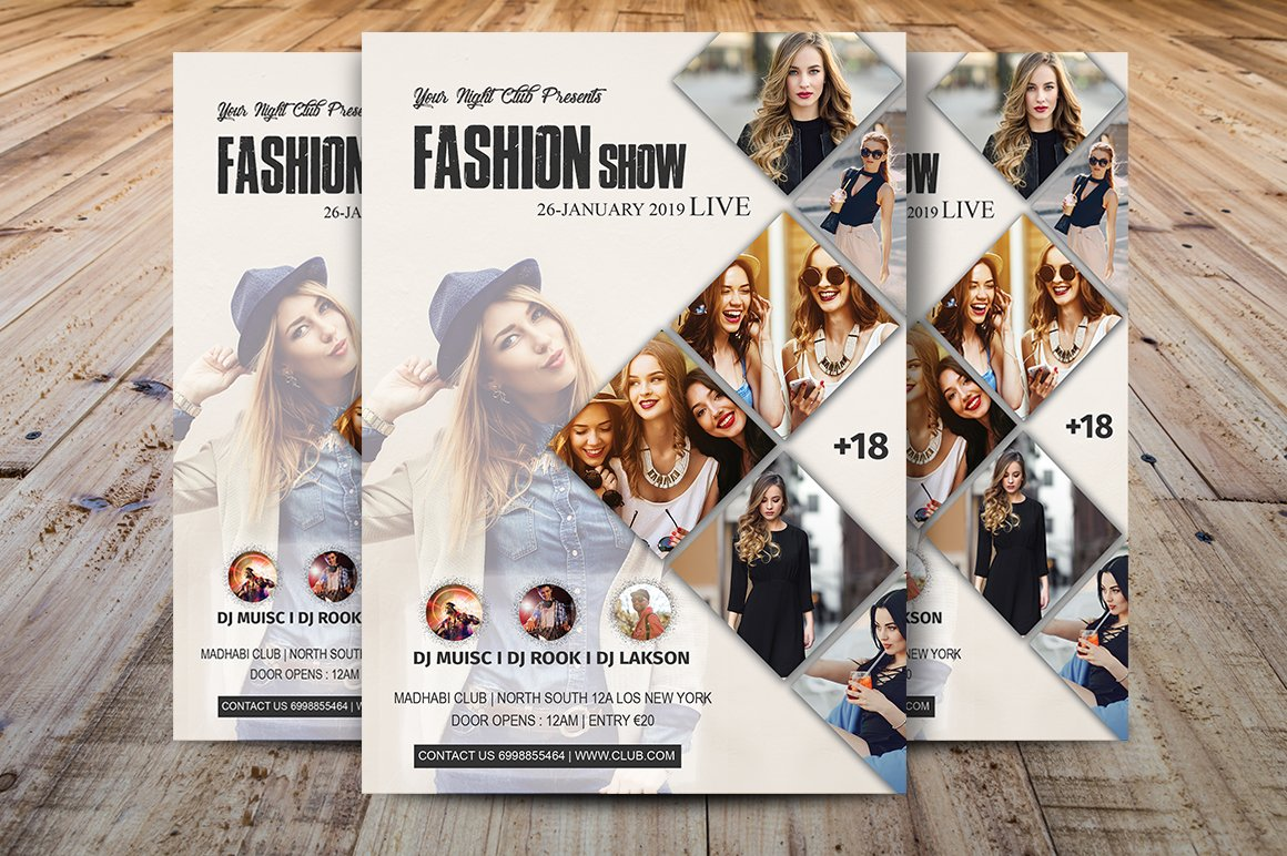 fashion show flyer template flyer templates creative market. Black Bedroom Furniture Sets. Home Design Ideas