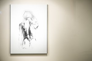 Drawing displayed on a wall (PSD)