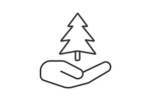 Open hand with fir tree linear icon