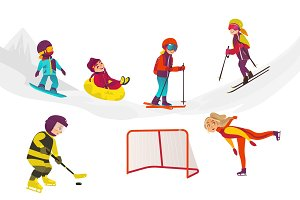 vector flat kids doing winter outdoor sport set