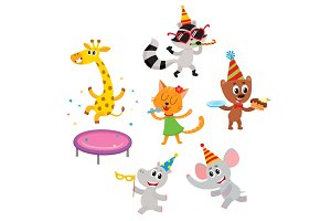 vector flat animals party set isolated