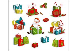 Christmas gifts, present boxes and Santa Claus