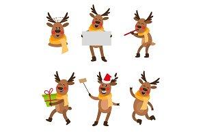 Set of cute cartoon Christmas reindeer characters