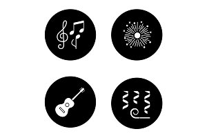 Party accessories glyph icons set