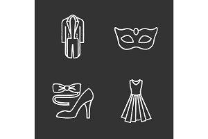 Party clothes chalk icons set