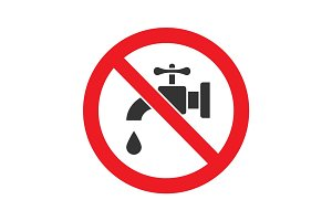 Forbidden sign with faucet glyph icon