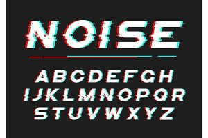 Decorative bold font with digital noise, distortion, glitch effe