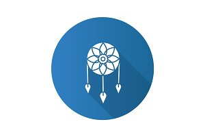 Dreamcatcher flat design long shadow glyph icon