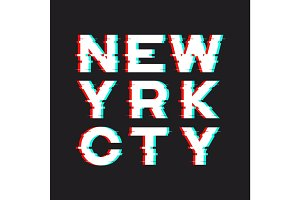 New York t-shirt and apparel design with noise, glitch, distorti