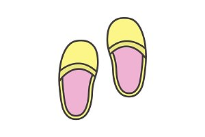 Bedroom slippers color icon