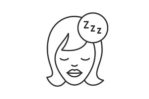 Sleeping woman linear icon