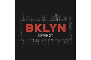 Brooklyn t-shirt and apparel design with grunge effect and textu
