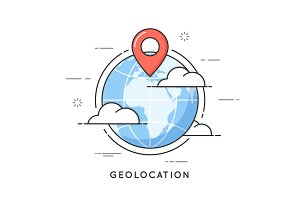 geolocation thin line concept