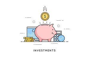 Investments, money savings, budget management, financial profit.