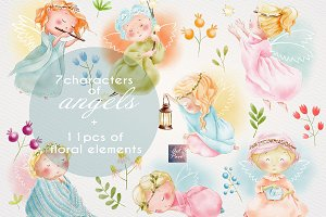 Angels Cute set, Watercolor Clipart