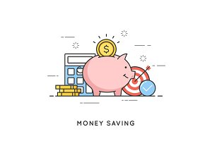 Money saving, deposit investment, budget management, economy. Fl