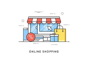 Online shopping, e-commerce. Flat line art style concept. Vector