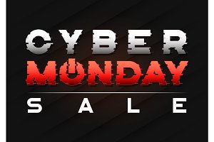 Cyber Monday sale banner design with a glitch styled text.