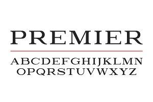 Modern serif typeface design. Vector font, alphabet letters, typ