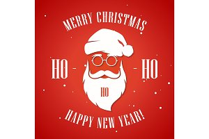 Merry Christmas and Happy New Year greeting card with hipster st