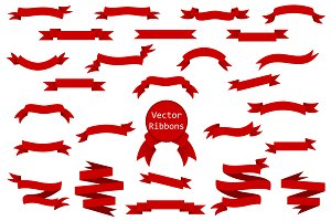 Collection of red vector ribbons