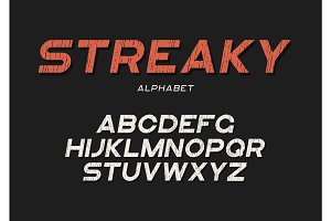 Streaky decorative textured bold font with grunge effect. Vector