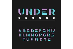 Underground decorative bold typeface. Vector alphabet, letters,