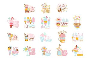 Ice cream labels set. Colorful hand drawn vector collection of ice cream illustrations