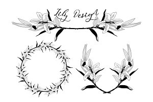 Lily Flower Design Elements