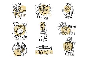 Jazz club logo design hand drawn vector Illustrations