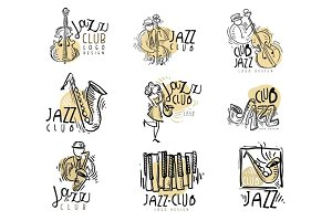 Jazz club labels set. Vintage hand drawn vector Illustrations
