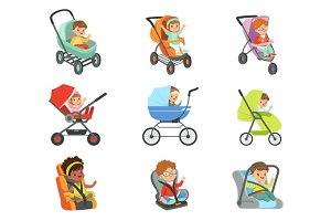 Baby carriage set. Children transport colorful Illustrations