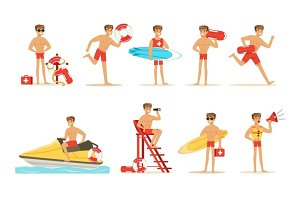 Lifeguard man character doing his job. Water rescue vector Illustrations