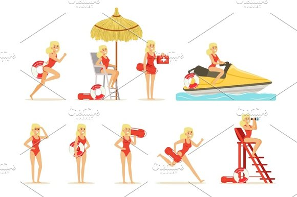 Lifeguard Woman Character Doing His Job Water Rescue Vector Illustrations