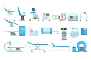 Innovational medical diagnostic equipment set of vector Illustrations