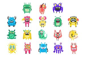 Cartoon cute funny monsters, aliens and bacterias set. Colorful collection of friendly monsters Illustration
