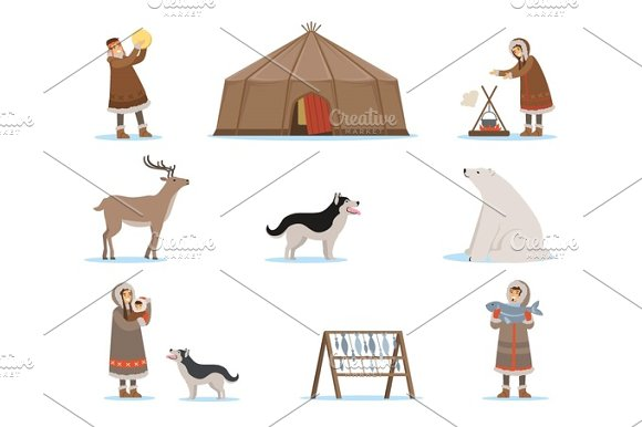 Eskimo Characters In Traditional Clothing Arctic Animals Igloo House Life In The Far North Set Of Colorful Cartoon Detailed Vector Illustrations