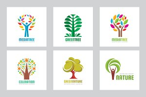 Abstract Tree - Vector Logo Set