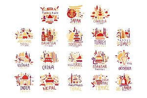 Maldives, Malaysia, Indonesia, Vietnam, China, Israel, India, Nepal, Filipinos set of colorful promo signs. Summer travel hand drawn vector Illustrations