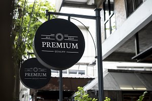 Shop signage mockup (PSD)