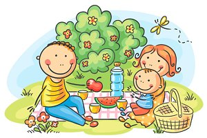 Cartoon family having picnic outdoor