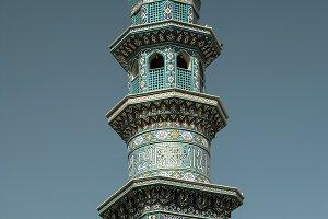 Minaret of Fatima Masumeh mosque in Qum Iran