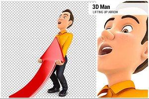 3D Man Lifting up Red Arrow
