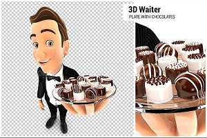 3D Waiter Plate with Chocolates