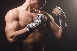 Boxer man on guard